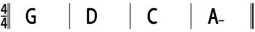 Exemple de grille avec 1 accord par mesure